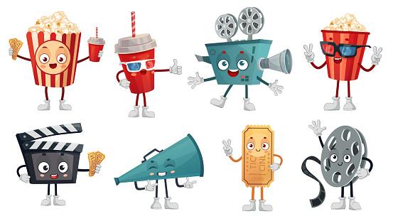 Cartoon cinema mascot. Popcorn in 3D glasses, funny movie film camera and cinemas tickets characters vector illustration set