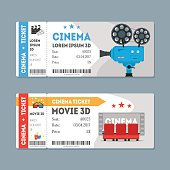 Cartoon Cinema Tickets Big Set. Vector
