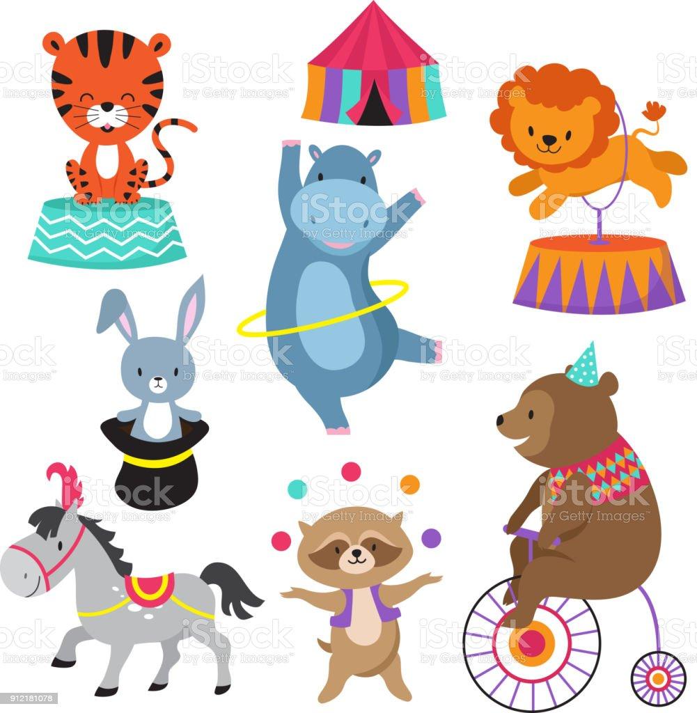 Cartoon circus animals for child birthday card vector stock stock cartoon circus animals for child birthday card vector stock royalty free cartoon circus animals for bookmarktalkfo Gallery
