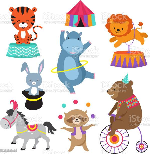 Cartoon circus animals for child birthday card vector stock vector id912181078?b=1&k=6&m=912181078&s=612x612&h=di fgrr 5v z7oysmybycatl0 2jege4cze5iuyulfo=