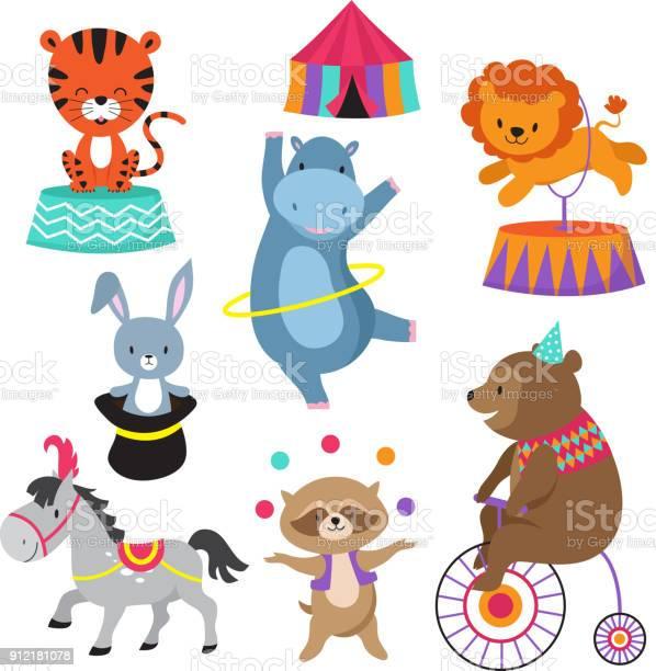 Cartoon circus animals for child birthday card vector stock vector id912181078?b=1&k=6&m=912181078&s=612x612&h=di fgrr 5v z7oysmybycatl0 2jege4cze5iuyulfo=