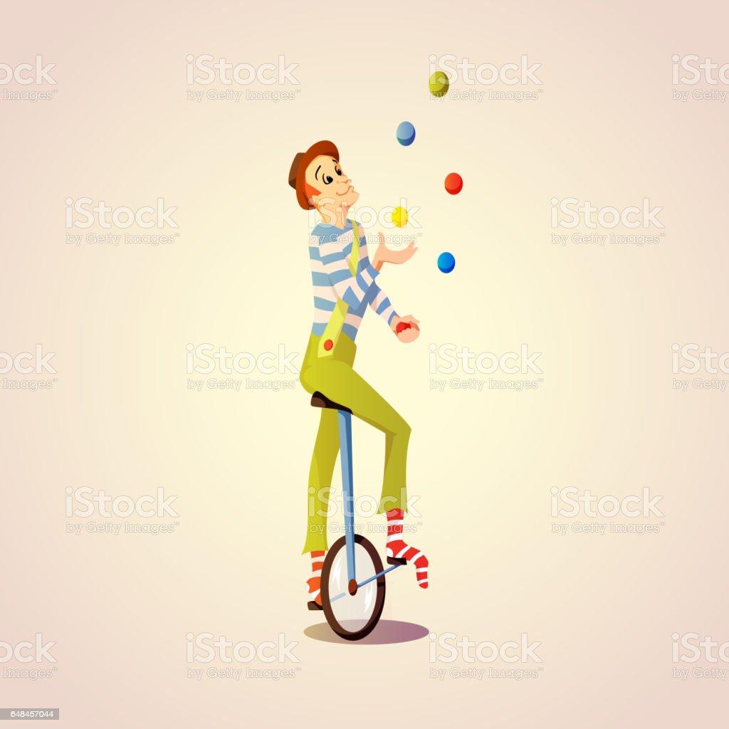 Cartoon Circus juggler juggling balls on a unicycle vector art illustration