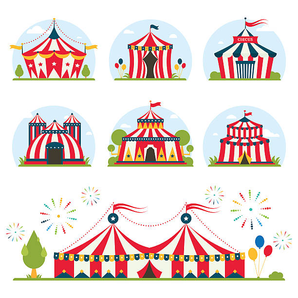 cartoon circus tent with stripes and flags isolated.  Ideal for cartoon circus tent with stripes and flags carnival entertainment amusement lelements flat vector. Circus tents entertainment, amusement circus red tents. Carnival circus tents park arena celebration. temps stock illustrations