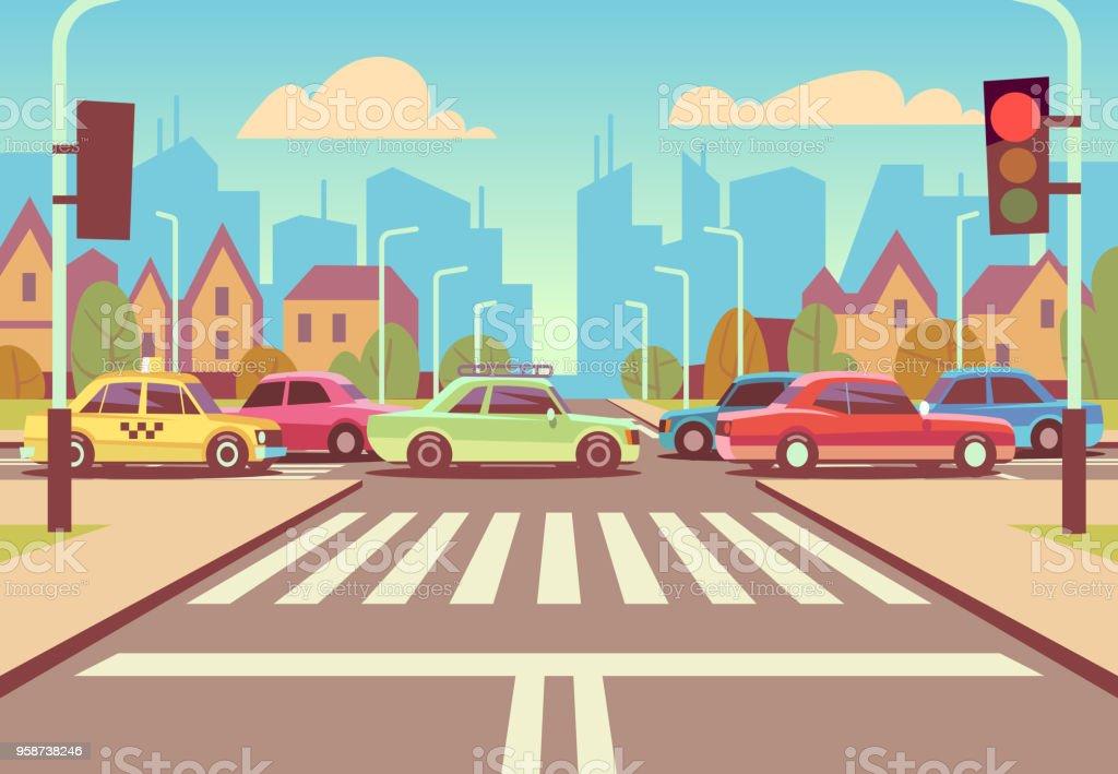 Cartoon city crossroads with cars in traffic jam, sidewalk, crosswalk and urban landscape vector illustration vector art illustration