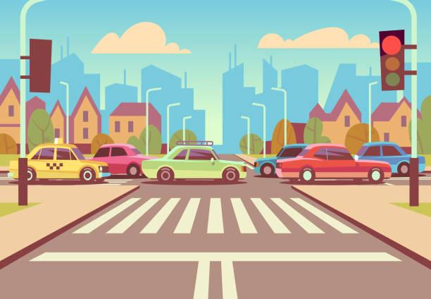 卡通城市十字路口與汽車在交通堵塞, 人行道, 人行橫道和城市景觀向量插圖 - traffic 幅插畫檔、美工圖案、卡通及圖標