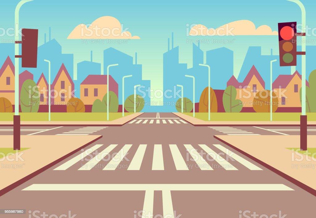 dessin animé ville carrefour avec feux de circulation trottoir