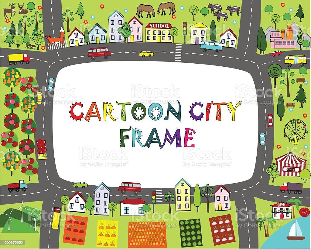 Cartoon City Frame Kids Map Landscape Stock Vector Art & More Images ...