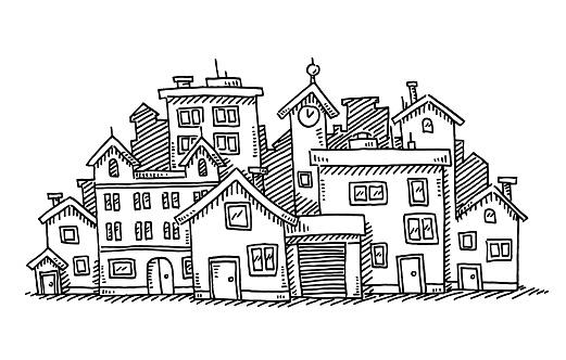 Cartoon City Group Of Buildings Drawing