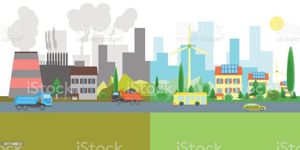 Ilustración De Dibujos Animados Ciudad Paisaje Geen Y Fábricas De