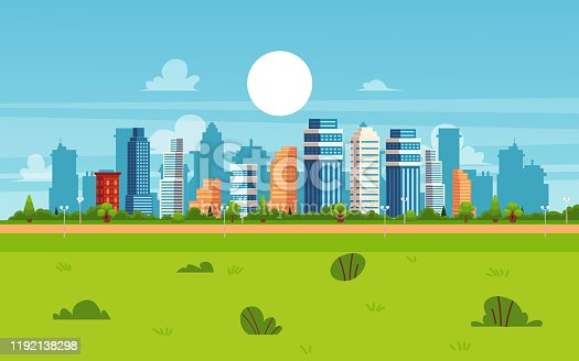 istock Cartoon city landscape on summer day - modern flat cityscape banner 1192138298