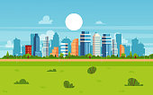 Cartoon city landscape on summer day - modern flat cityscape banner with skyscraper buildings and green park with trees, urban architecture vector illustration