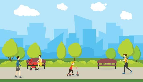 illustrazioni stock, clip art, cartoni animati e icone di tendenza di cartoon city park witch urban landscape. vector - city walking background