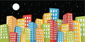 Illustration of colorful cute city scene at night(No gradients).Zip contains high resolution jpeg,AI8,eps8,pdf.