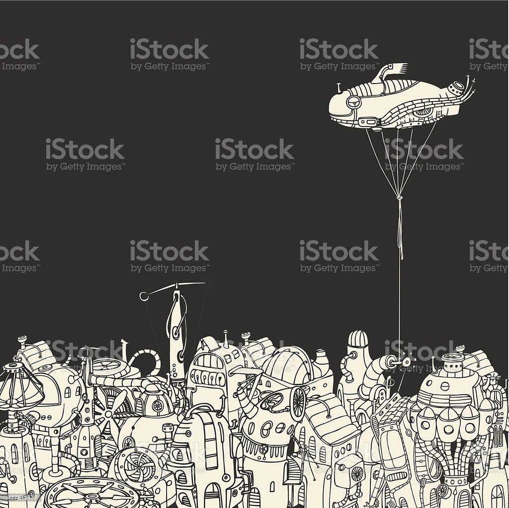 Cartoon City with Fish Eye Zeppelin royalty-free stock vector art