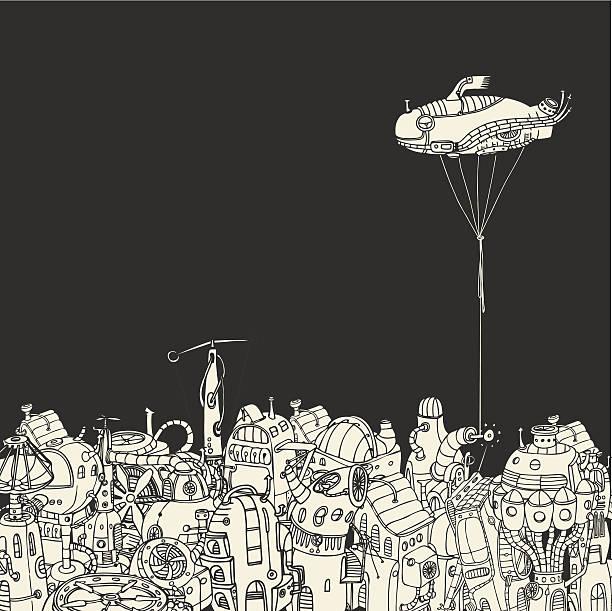 Cartoon City with Fish Eye Zeppelin vector art illustration