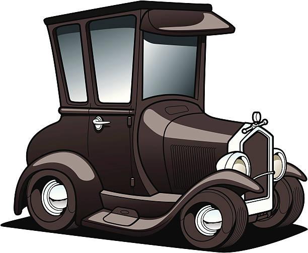 cartoon Classic car vector art illustration