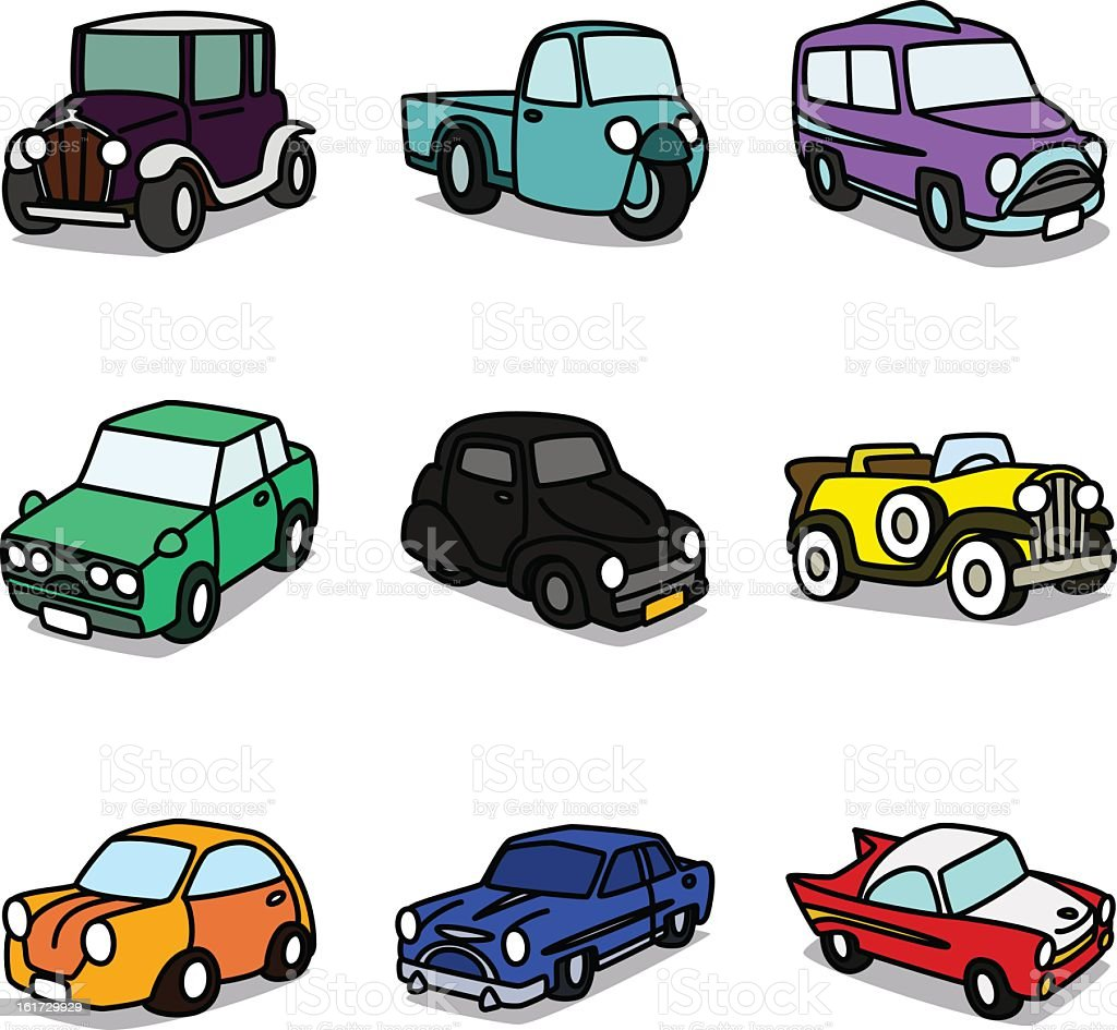 Cartoon Classic Cars royalty-free stock vector art