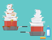 Cartoon Clean and Dirty Dishes Set Plates, Cups and Pans Piles Housework Concept Flat Design. Vector illustration