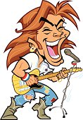 Cartoon clip art of a rock star singing and playing guitar