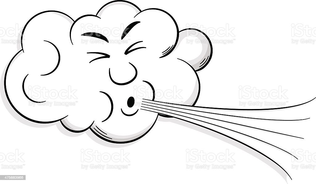 cartoon cloud blows wind vector art illustration