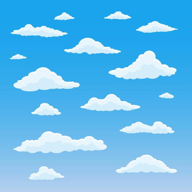 만화 구름 세트입니다. 흐린 하늘 배경입니다. 흰 솜 털 구름과 푸른 천국입니다. 벡터 일러스트입니다. - 구름 stock illustrations