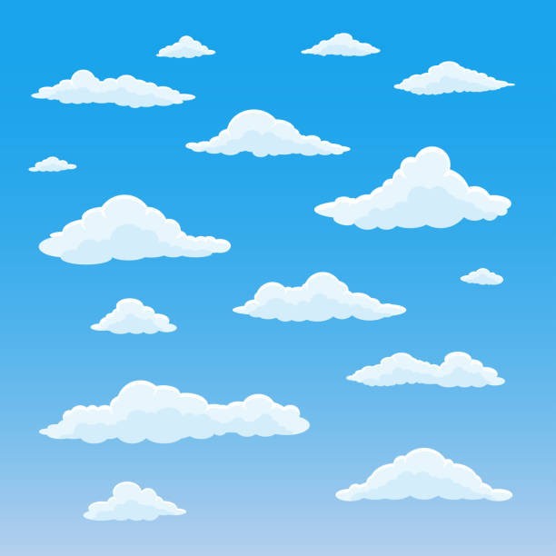 cartoon-wolke gesetzt. bewölkter himmelshintergrund. blauer himmel mit weißen, flauschigen wolken. vector illustration. - wolken stock-grafiken, -clipart, -cartoons und -symbole