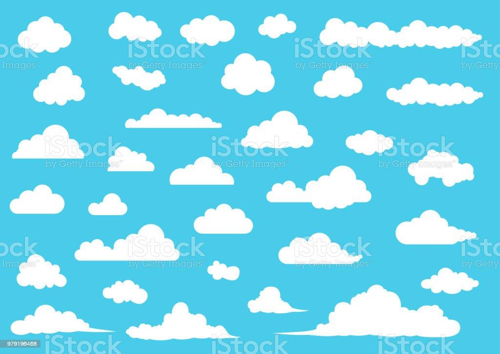 Cartoon Cloud set, vector illustration royalty-free cartoon cloud set vector illustration stock illustration - download image now