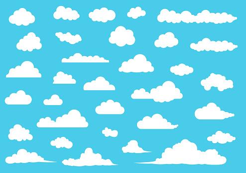 Cartoon Cloud set, vector illustration