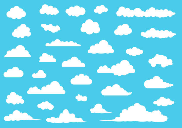 cartoon cloud set, vector illustration - chmura stock illustrations