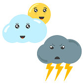 Cartoon cloud with the sun and a thundercloud with lightning. Isolated vector illustration on white background.