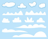istock Cartoon clouds collection 1299895411