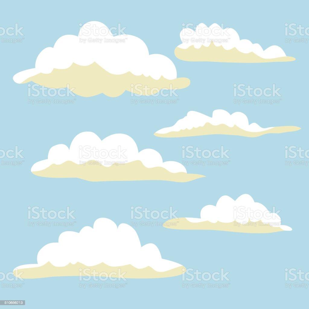 カットイラスト雲ます イラストに青色の背景 - かすみのベクターアート