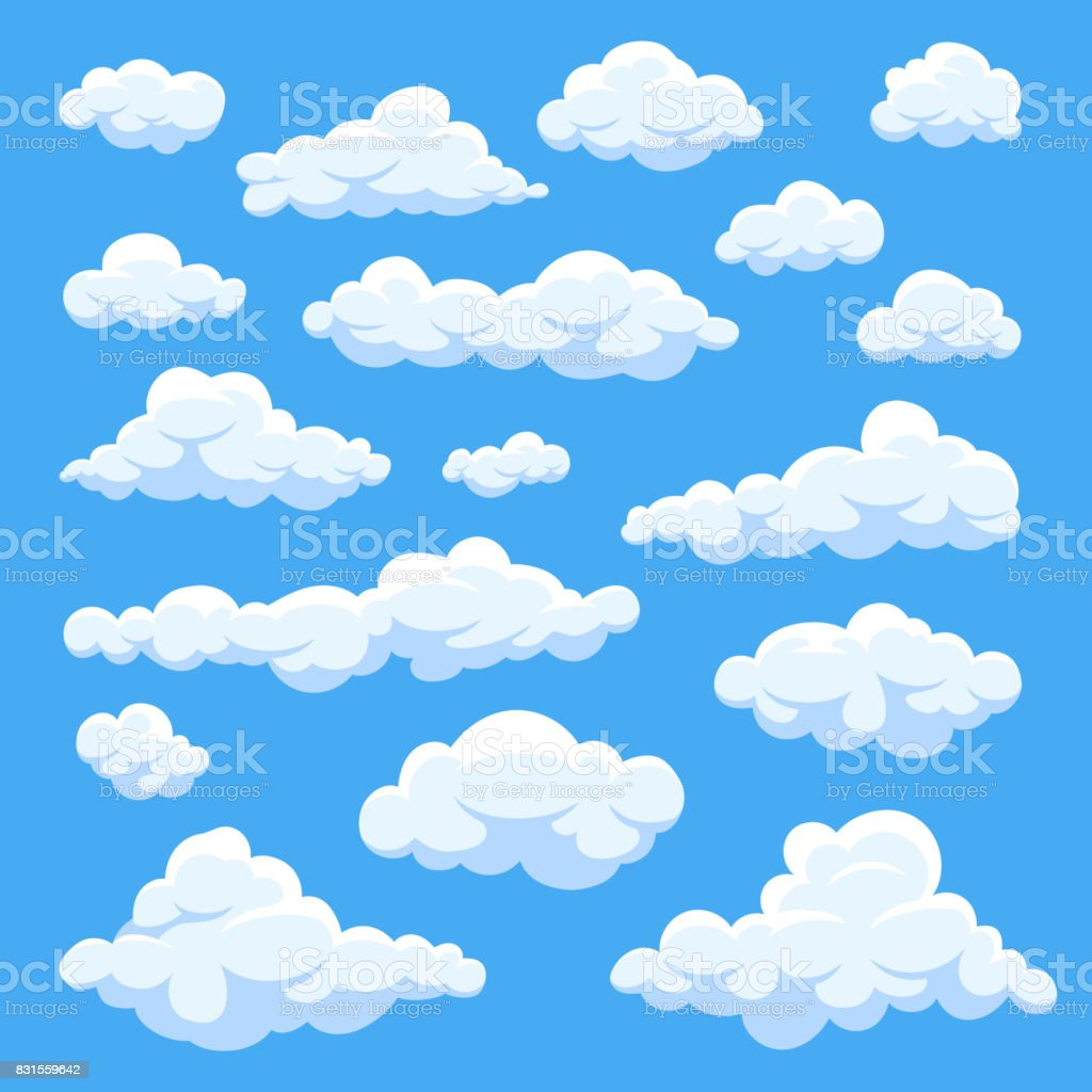 Cartoon clouds isolated on blue sky panorama vector collection vector art illustration