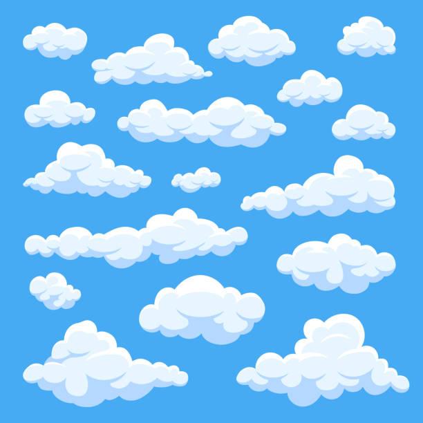 ilustraciones, imágenes clip art, dibujos animados e iconos de stock de dibujos animados de nubes aisladas en la colección de vectores de panorama de cielo azul - nube