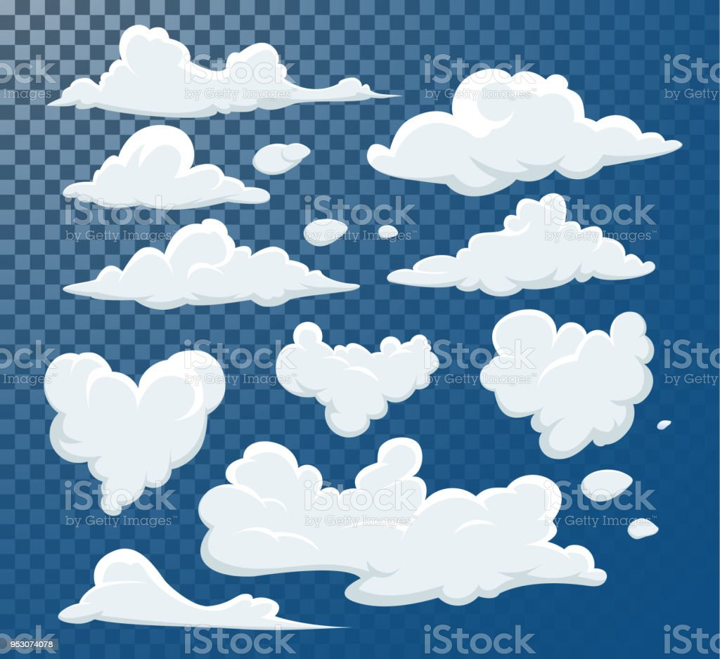 Cartoon clouds isolated on blue sky vector collection