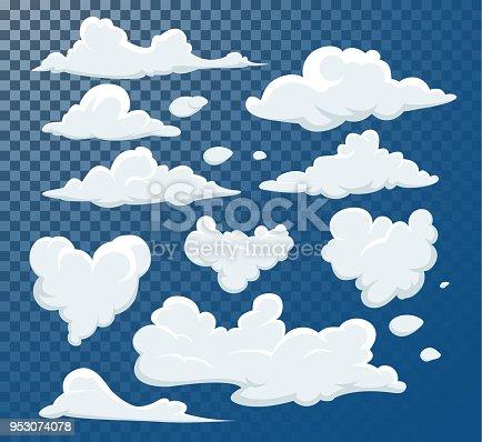Different clouds clip art element. Cloudscape in blue sky, white cloud element illustration