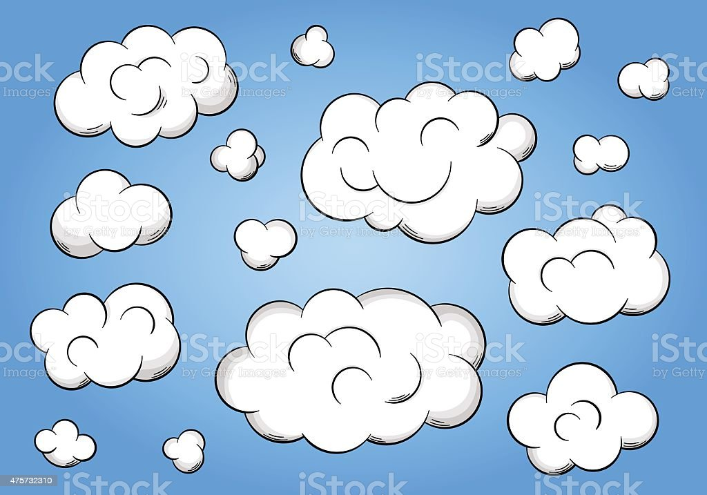 cartoon clouds on blue background vector art illustration