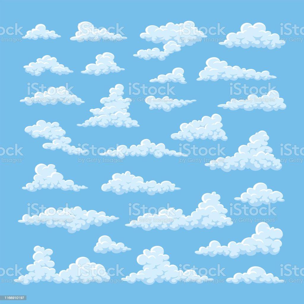 Vetores De Nuvens Dos Desenhos Animados No Fundo Do Ceu Azul E