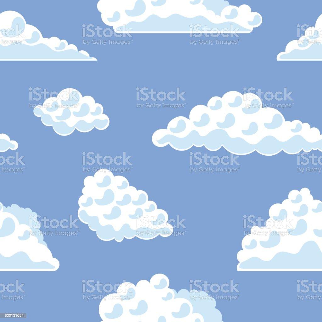 Vetores De Nuvens De Desenho Animado Sobre O Padrao De Fundo De