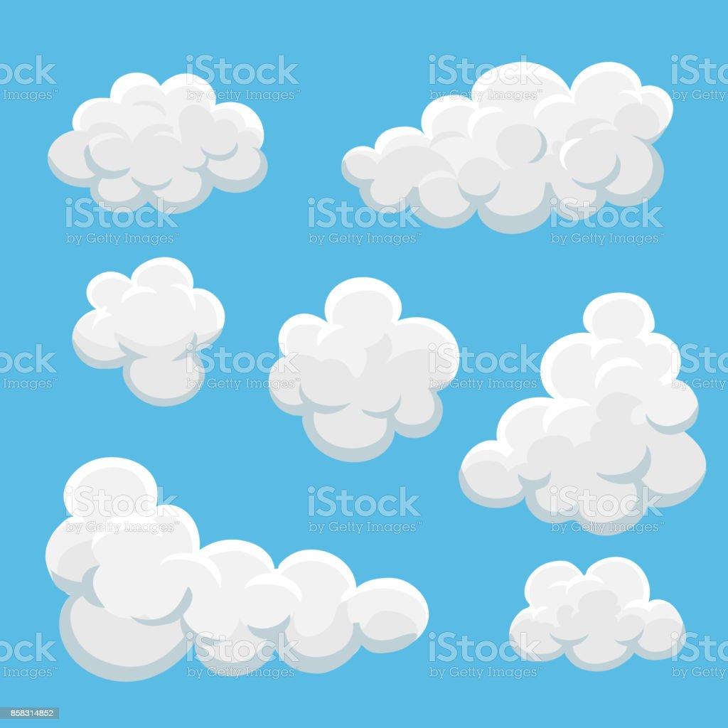 Vetores de Nuvens De Desenho Animado Em Um Fundo Azul e mais imagens de  Abstrato - iStock
