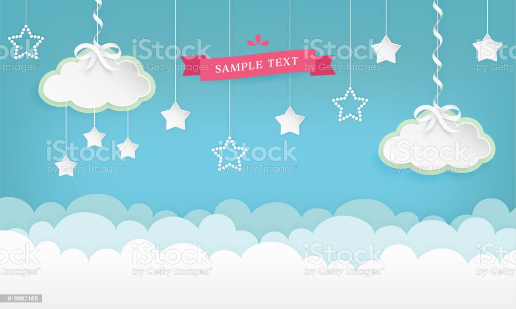 Cartoon cloudscape background with stars. Clouds with satin ribbon and bow. Vector illustration.