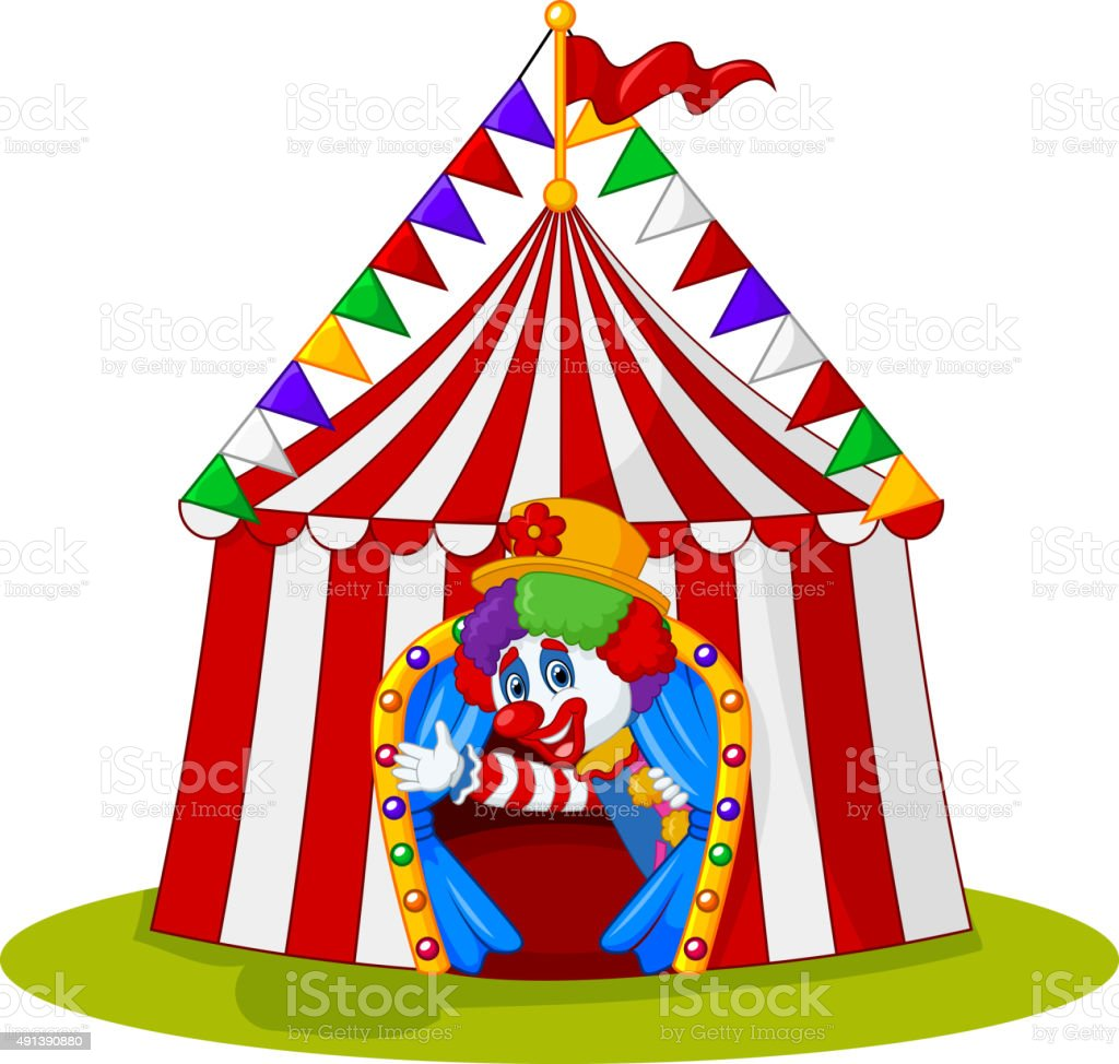 Cartoon clown come out from circus tent royalty-free cartoon clown come out from circus  sc 1 st  iStock & Cartoon Clown Come Out From Circus Tent Stock Vector Art u0026 More ...