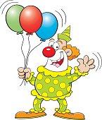 Cartoon clown holding balloons.