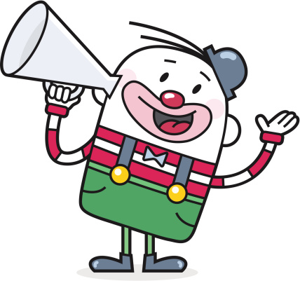 cartoon clown with a bullhorn announcing something