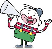 vector illustration of a clown with megaphone announcing something