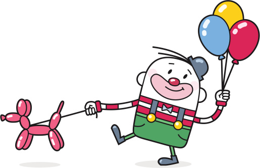 Cartoon Clown with Balloon Poodle