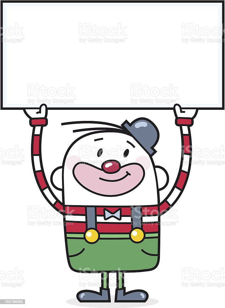 Cartoon Clown with blank Sign for your Text royalty-free stock vector art