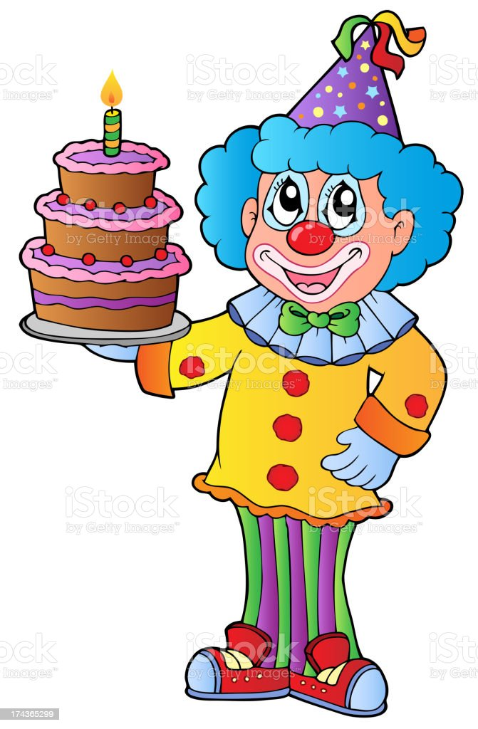 Cartoon clown with cake royalty-free cartoon clown with cake stock vector art & more images of art