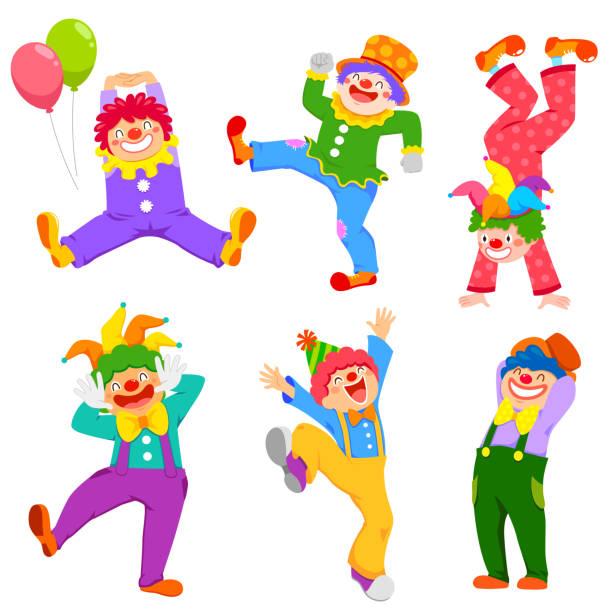 Cartoon clowns collection vector art illustration