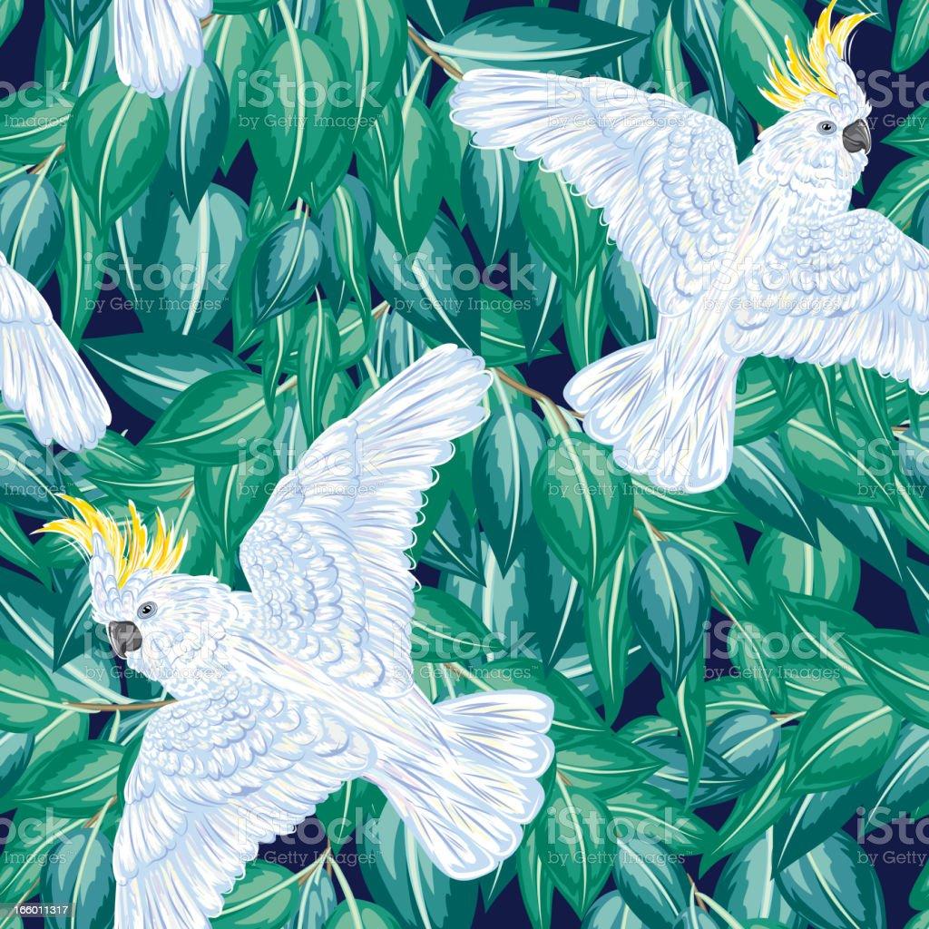 Cartoon Cockatoos & Leaves Seamless Pattern vector art illustration